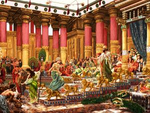 نقشه ی تابلو فرش دستباف دیدار ملکه سبا با سلیمان