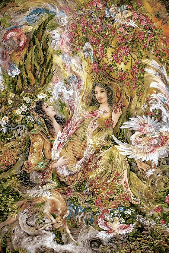 نقشه تابلو فرش دستباف طرح مینیاتور دختر نوازنده سه تار