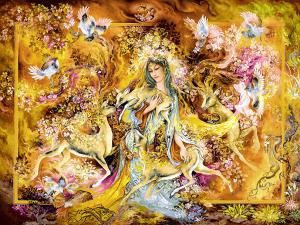 دانلود رایگان فایل نقشه ی تابلو فرش دستباف طرح مینیاتور دختر آهو و پرندگان